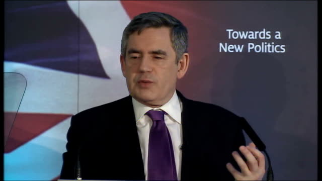 Gordon Brown speech on transforming politics Gordon Brown speech continues SOT Public services will not only be more personal in future but they will...