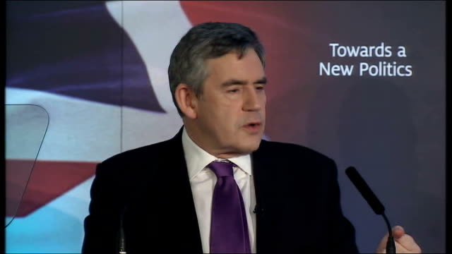 Gordon Brown speech on transforming politics Gordon Brown speech continues SOT So the urgent imperative for politicians on all sides is to do...
