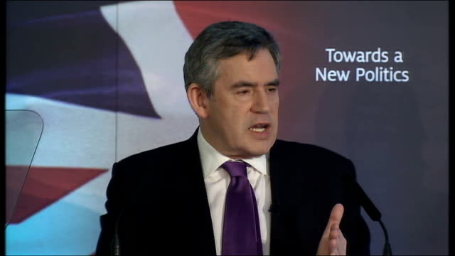 Gordon Brown speech on transforming politics Gordon Brown speech continues SOT And while my party has a proud record of having the first black MP the...