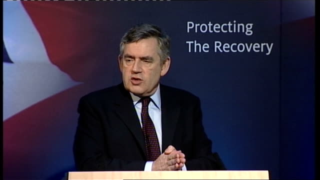 gordon brown speech on uk economy; gordon brown speech continues sot - these are the critical domestic economic decisions - the new basis of an... - co ordination stock videos & royalty-free footage