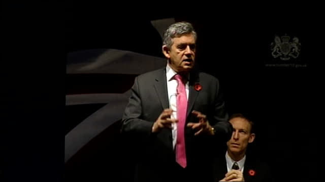 vídeos y material grabado en eventos de stock de gordon brown speech to business leaders; gordon brown speech continued sot - want to assure you we will do what it takes/ has to be solved at a... - new age