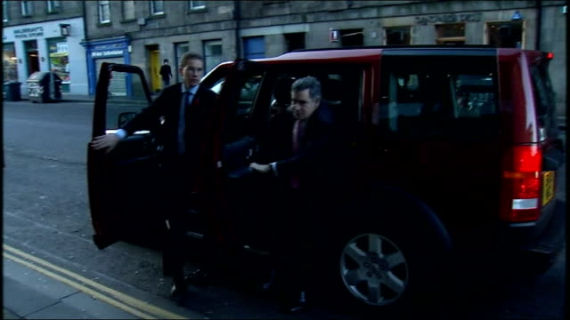 Gordon Brown speech to business leaders SCOTLAND Edinburgh EXT Gordon Brown MP out of car and greeted by Jim Murphy MP and Ian MacMillan and into...