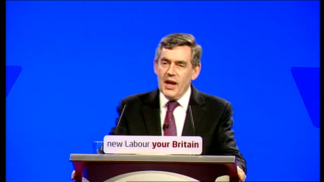 gordon brown speech to labour party spring conference; gordon brown mp speech sot - we can now all see - through climate change, global terror, new... - all around competition stock videos & royalty-free footage