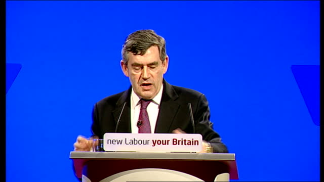 vídeos de stock, filmes e b-roll de gordon brown speech to labour party spring conference gordon brown speech continued sot i am determined that more people have more opportunities... - primary age child