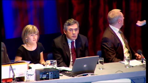 gordon brown speech to scottish tuc conference; scotland: inverness: int audience and introductory speeches - 労働組合会議点の映像素材/bロール