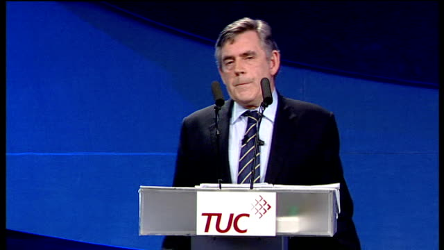 gordon brown speech to tuc conference; it is hard to believe that we meet today in liverpool, his home city, without the presence of our friend the... - 30 seconds or greater stock-videos und b-roll-filmmaterial