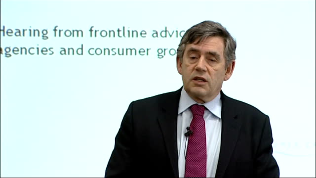 vidéos et rushes de gordon brown speech to 'which' forum; england: london: int gordon brown mp speech sot - we've been hit by a global banking crisis stretched right... - prime minister