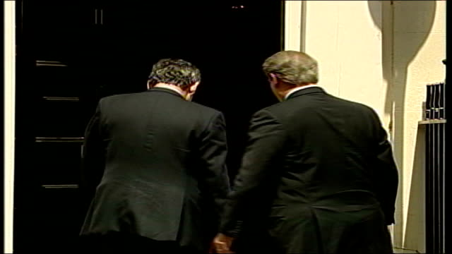 gordon brown support for trident nuclear missile system / reaction london downing street ext gordon brown shaking hands with al gore outside no11... - al gore stock videos and b-roll footage
