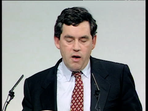 gordon brown talks at labour party conference about abolishing youth unemployment brighton oct 95 - unemployment stock videos & royalty-free footage