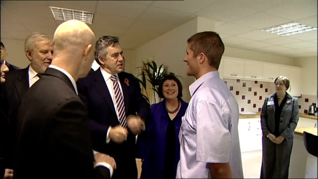 gordon brown talks to local business leaders england cheshire chester ea technology int gordon brown mp enters building and meets members from local... - chester cheshire stock-videos und b-roll-filmmaterial