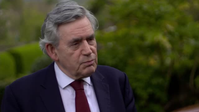gordon brown tells boris johnson to stop parading the union jack around scotland; united kingdom: ext gordon brown interview sot / set up shots with... - channel 4 news stock videos & royalty-free footage