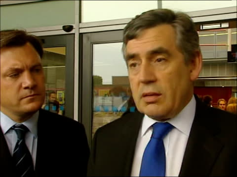 speaking to press and interview england bristol bristol brunel academy ext convoy of cars arriving at school gordon brown mp speaking to press with... - gordon brown stock videos & royalty-free footage