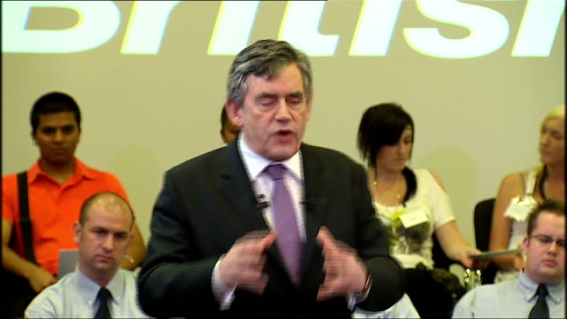 Gordon Brown visit to British Gas Energy Academy in Leicester speech / cutaways Brown speech SOT Economy might double that's twice as many...