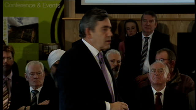 gordon brown visits corby brown speech sot on getting banks to lend more by signing lending agreements / need to invest for the future by investing... - paying rent stock videos & royalty-free footage
