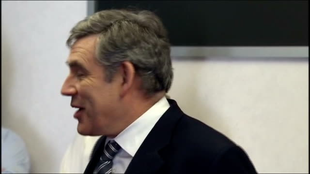 gordon brown visits engine manufacturing plant ***some brown's car arriving gordon brown mp out and greeted then enters building brown chatting with... - official car stock videos & royalty-free footage