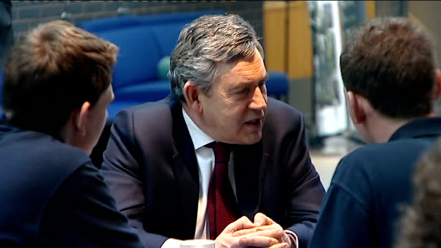 gordon brown visits rolls royce factory ed balls mp talking with rolls royce workers / beckett and john denham mp talking with workers / brown... - rolls royce stock videos & royalty-free footage