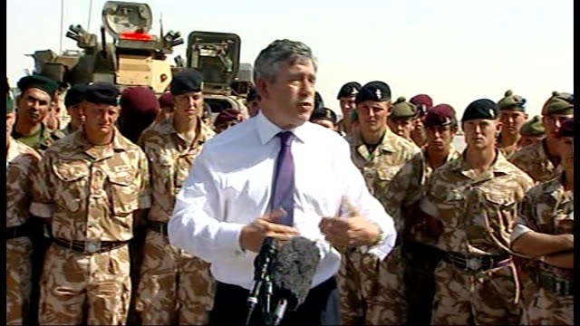 gordon brown visits troops at camp bastion gordon brown mp addressing troops sot thank you for mentoring job you are doing / we are building afghan... - field marshal stock videos and b-roll footage