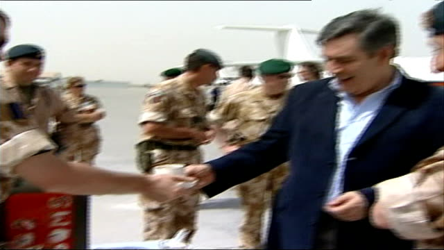 gordon brown warned tax reforms in 1997 could damage pensions; file / tx 30.3.07 afghanistan: kandahar airport: ext gordon brown mp being served tea... - kandahar stock-videos und b-roll-filmmaterial
