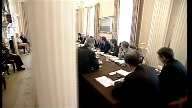 gordon brown's cabinet reshuffle england london 10 downing street int gordon brown mp seated at his first cabinet meeting with newly appointed... - 10 downing street stock videos and b-roll footage