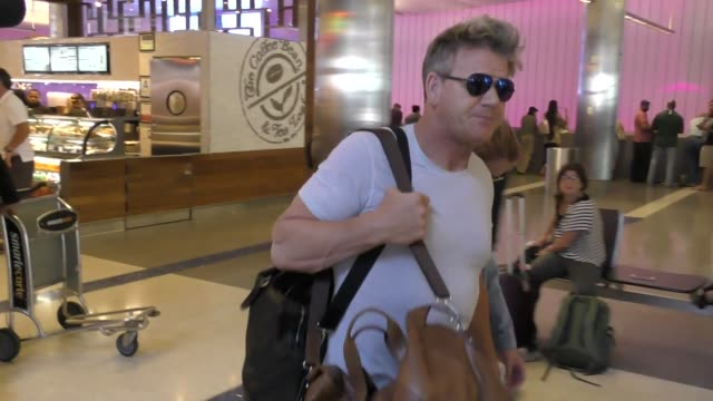 gordon ramsay arriving at lax airport in los angeles in celebrity sightings in los angeles - gordon ramsay stock videos and b-roll footage