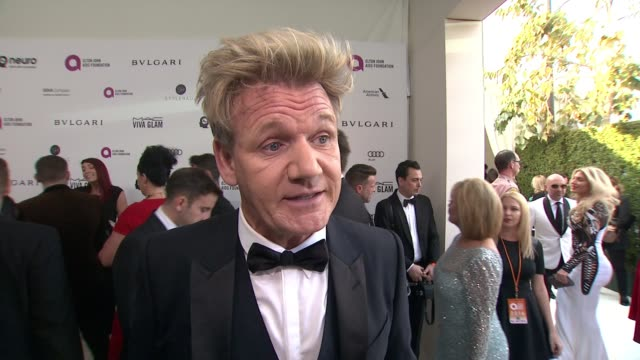 interview gordon ramsay at elton john aids foundation presents 24th annual academy awards viewing party on february 28 2016 in west hollywood... - gordon ramsay stock videos and b-roll footage