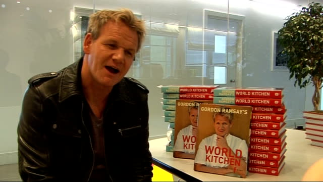 gordon ramsay promotes new book; ramsay interview sot - feels he is improving like fine wine / does not want to spend all his time in kitchen but... - masterchef stock videos & royalty-free footage