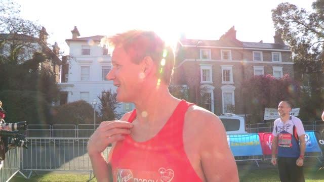 gordon tana ramsay talk about the race at the start of the 2012 london marathon gordon tana ramsay virgin london marathon at blackheath common on... - gordon ramsay stock videos and b-roll footage