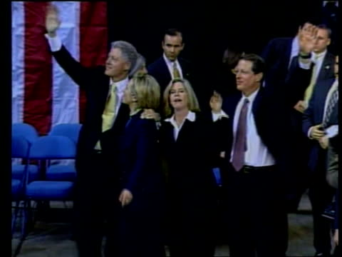 gore enters presidential race lib clinton and wife hillary along on platform with gore and wife tipper - tipper gore stock videos & royalty-free footage