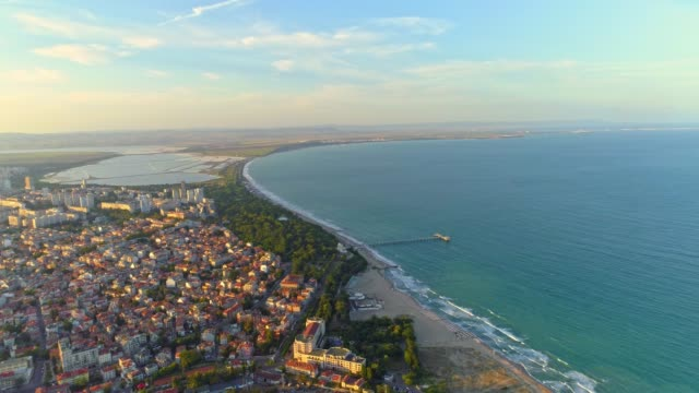 gorgeous aerial view of the sea garden in burgas, bulgaria drone flying forward - bulgaria video stock e b–roll