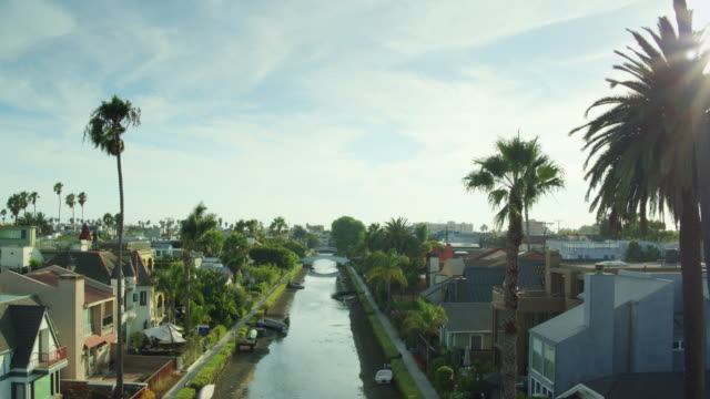 Gorgeous Afternoon in Venice Canal Historic District, Los Angeles - Drone Shot