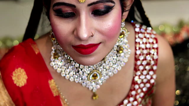 gorgeous beautiful young indian bride in traditional wedding dress - bride stock videos & royalty-free footage