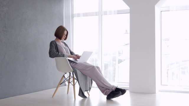 Gorgeous chestnut woman sitting on armchair and working on laptop