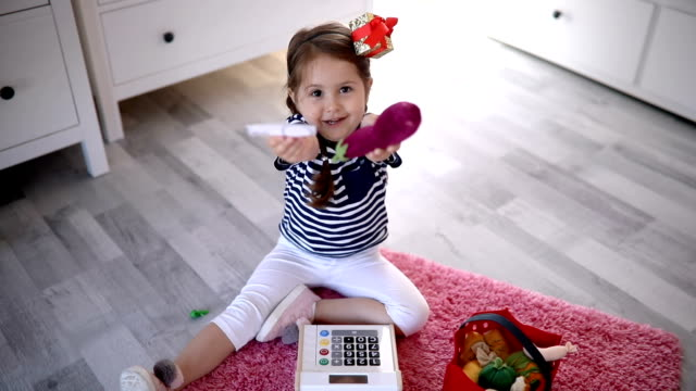 gorgeous child playing at home - one girl only stock videos & royalty-free footage
