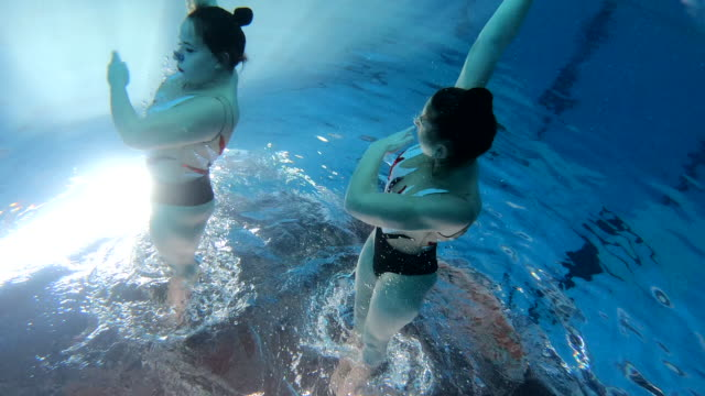 gorgeous female synchronized swimming athletes practicing their skills - upside down stock videos & royalty-free footage