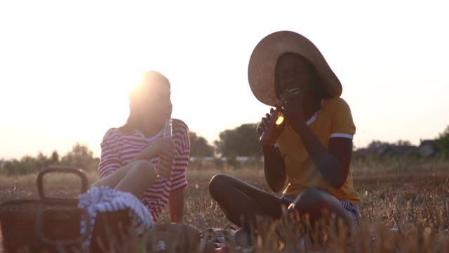 gorgeous friends having a light beer on picnic - beer cap stock videos & royalty-free footage
