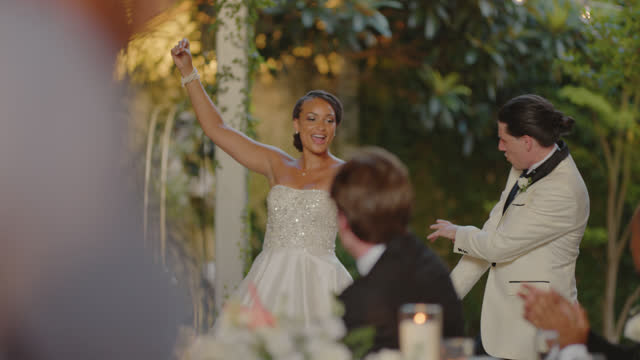 slo mo gorgeous husband and wife dance during their wedding reception - dinner jacket stock videos & royalty-free footage
