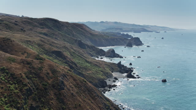 gorgeous scenery on the sonoma coast - aerial view - coastline stock videos & royalty-free footage