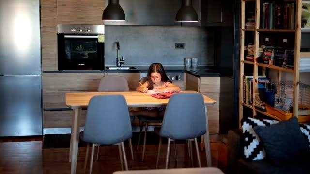 vidéos et rushes de superbe fille intelligente à faire leurs devoirs - plan large