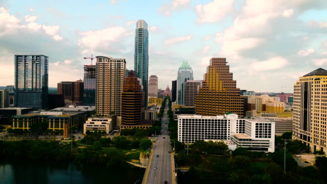 gorgeous sunset high above downtown austin cityscape with texas state capitol views - avenue stock videos & royalty-free footage