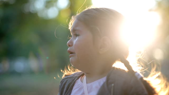 Gorgeous toddler crying outdoors