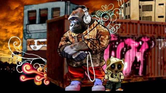 vidéos et rushes de gorille funk animation - très tendance