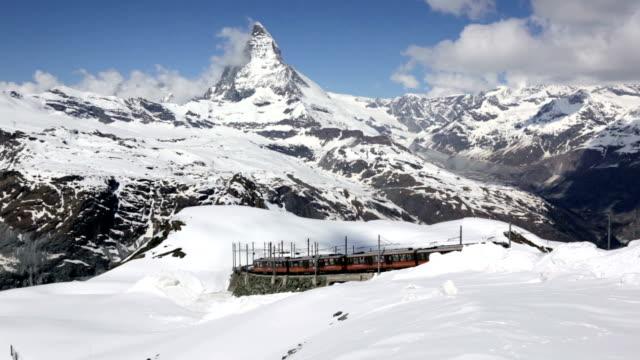 Gornergrat Bahn Train and Mattherhorn in Zermatt, Switzerland
