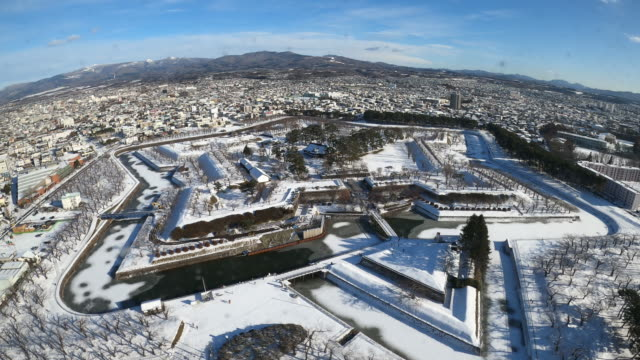 goryokaku fort the historic architecture in winter season, popular landmark of hakodate city, hokkaido, japan - hokkaido stock videos & royalty-free footage