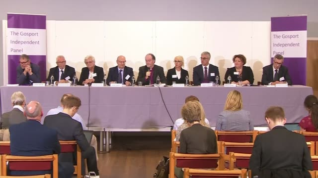 Report reveals catalogue of failings ENGLAND Hampshire Portsmouth INT Wide shot of The Gosport Independent Panel members seated at press conference