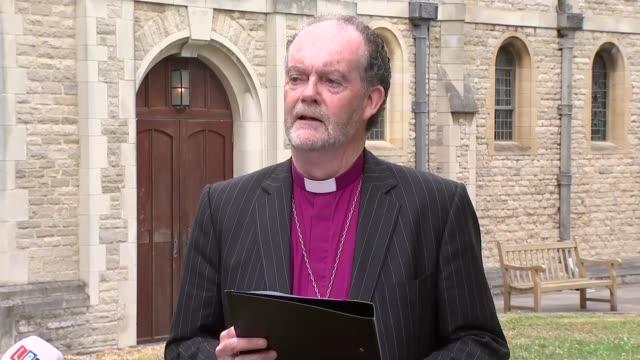 bishop james jones statement england hampshire portsmouth ext bishop james jones statement to press sot - gosport stock videos & royalty-free footage