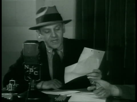 winchell gossip columnist walter winchell at desk w/ nbc microphone sot when roosevelt heard news that spencer 'sold' 500 acres near hyde park to... - columnist stock videos & royalty-free footage