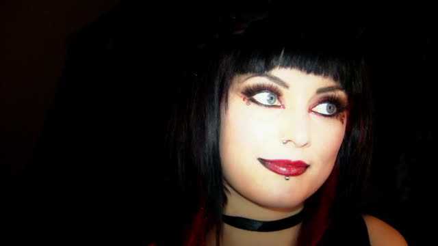 goth girl - nose piercing stock videos & royalty-free footage