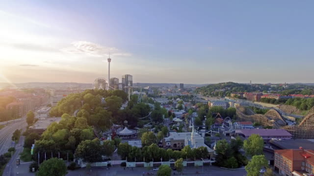 Gothenburg Amusement Park Aerial View in Sunset