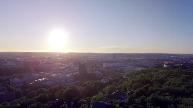 Gothenburg City Aerial View in Sunset