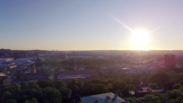 Luchtfoto van het Gothenburg City in Sunset